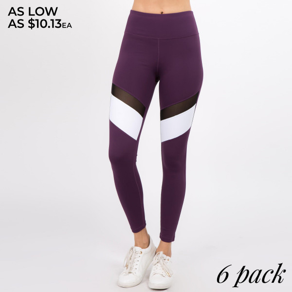 Work hard, play hard at the gym... in the right leggings of course! These leggings feature a colorblock stripe with a mesh inset to help air flow as your workout heats up. The compression, soft knit fabrication conforms to your body while lifting and firming in all the right places. Great for low-high impact workouts and leisure activities.   • Flattening high rise waist with tummy control & back waistband pocket  • 4 way stretch nylon-blend fabric  • Long, skinny leg design  • Colorblock stripe with mesh inset  • Thick, comfortable waistband. • Moisture Management  • Pull-on styling: thick elastic waistband  • Polyester/Spandex  • Hand Wash Cold. Do not bleach. Hang Dry  • Imported   Composition: 65% Nylon, 30% Polyester, 5% Spandex   Pack Breakdown: 6pcs/pack. 2S: 2M: 2L
