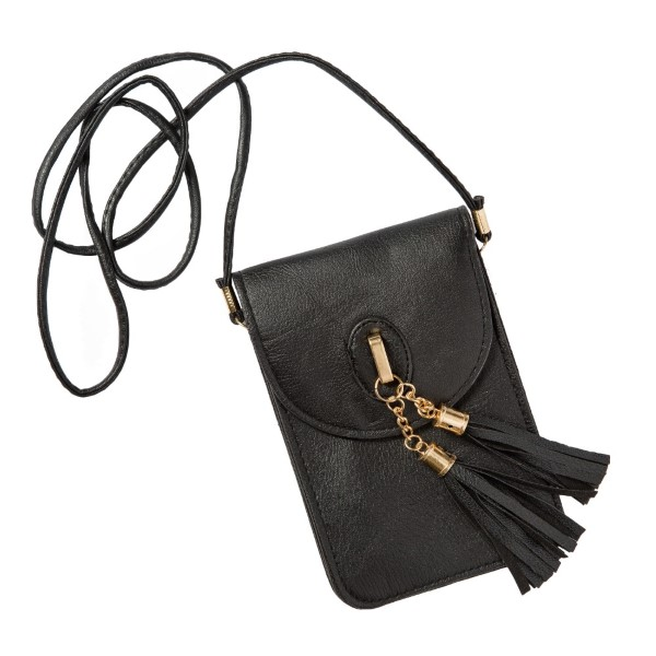 """Cross body hand bag with tassel detail. Approximately 7""""x5"""" with a 48"""" strap."""