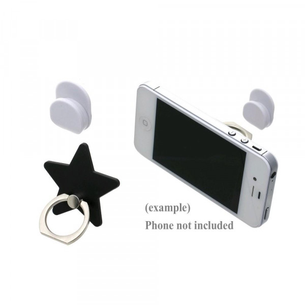 Star cell phone finger holder with 360 degree rotation on ring stand. Includes a car dashboard hook.