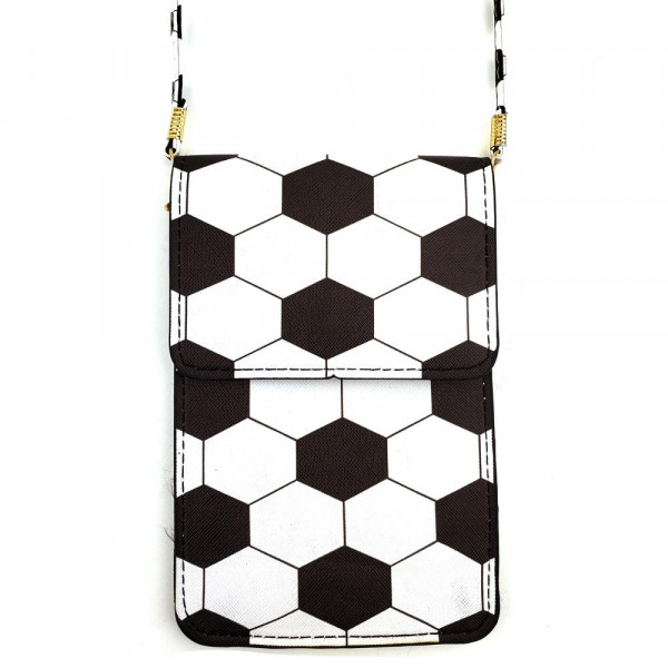 "Faux leather cross body bag featuring a soccer ball print with inside pockets, a clear back and snap closure. Includes a 25"" attachable strap. Approximately 7"" x 4"" in size. Approximately 31"" in length overall."