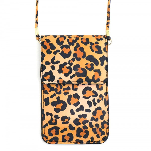 """Leopard print cellphone cross body bag featuring inside pockets, a clear back and snap closure. Includes a 25"""" attachable strap. Approximately 4"""" wide x 7"""" tall in size. Approximately 31"""" in length overall.  - Composition: 100% PU"""