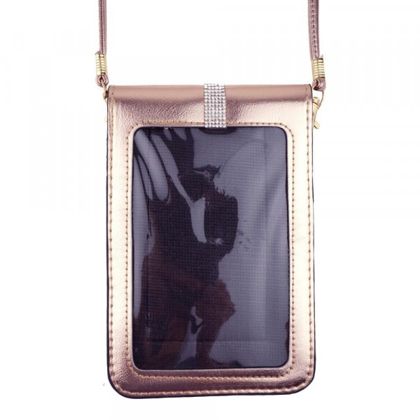 "Metallic cellphone cross body bag featuring rhinestone details, inside pockets, a clear back and snap closure. Includes a 25"" attachable strap. Approximately 4"" wide x 7"" tall in size. Approximately 31"" in length overall.  - Composition: 100% PU"