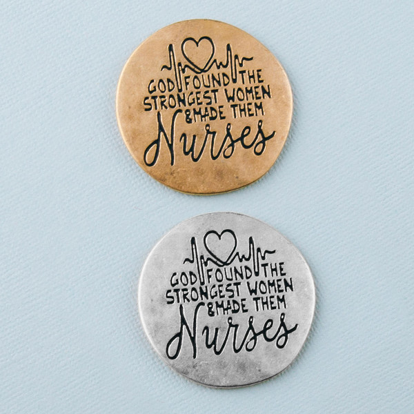 """Accessorize your phone grip with this metal decorative peel and stick charm featuring """"God found the strongest women and made them Nurses"""" engraved details. Approximately 1.5"""" in diameter. Fashion charms can also be used for the following:  - Laptops - Refrigerator Magnets - On DIY Home Projects - Car Dashboard - And anywhere you can Imagine"""