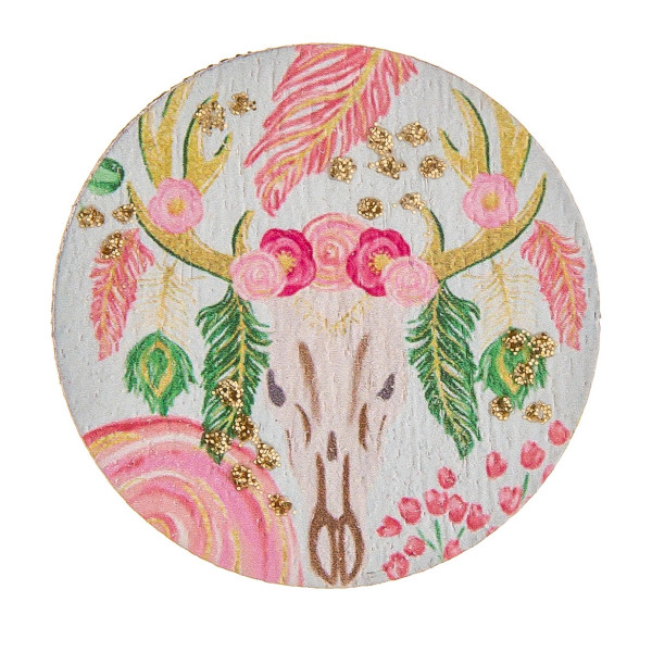 """Accessorize your phone grip with this wood decorative peel and stick charm featuring a floral cow skull inspired detail and glitter accents. Approximately 1.5"""" in diameter. Fashion charms can also be used for the following:  - Laptops - Refrigerator Magnets - On DIY Home Projects - Car Dashboard - And anywhere you can Imagine"""