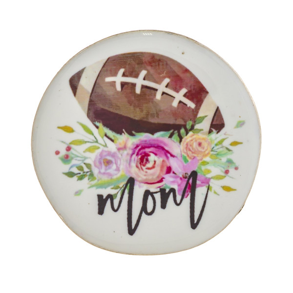 "Accessorize your phone grip with this metal decorative peel and stick charm featuring ""Football Mom"" illustration enamel  details sealed with a clear coating. Approximately 1.5"" in diameter. Fashion charms can also be used for the following:  - Laptops - Refrigerator Magnets - On DIY Home Projects - Car Dashboard - And anywhere you can Imagine"