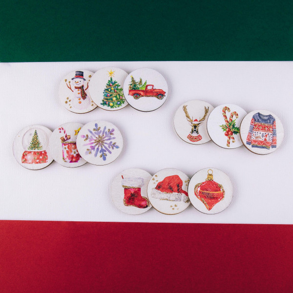 """Accessorize your phone grip with this wooden Christmas stocking decorative peel and stick charm. Approximately 1.5"""" in diameter. Fashion charms can also be used for the following:  - Laptops - Refrigerator Magnets - On DIY Home Projects - Car Dashboard - And anywhere you can Imagine"""