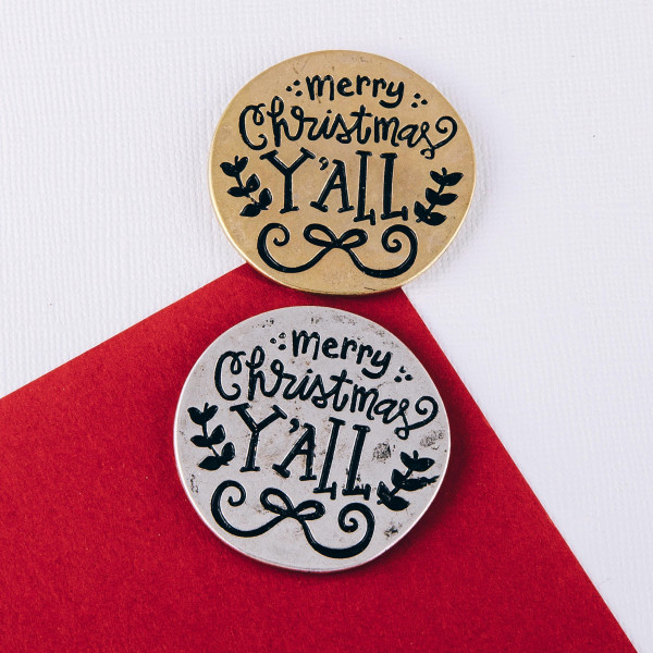 """Accessorize your phone grip with this metal Christmas decorative peel and stick charm featuring """"Merry Christmas Y'all"""" engraved details. Approximately 1.5"""" in diameter. Fashion charms can also be used for the following:  - Laptops - Refrigerator Magnets - On DIY Home Projects - Car Dashboard - And anywhere you can Imagine"""