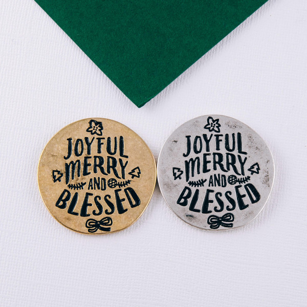 """Accessorize your phone grip with this metal Christmas decorative peel and stick charm featuring """"Joyful Merry & Blessed"""" engraved details. Approximately 1.5"""" in diameter. Fashion charms can also be used for the following:  - Laptops - Refrigerator Magnets - On DIY Home Projects - Car Dashboard - And anywhere you can Imagine"""