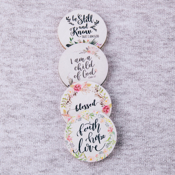 """Accessorize your phone grip with this wooden decorative peel and stick charm featuring """"Faith Hope Love"""" floral illustration. Approximately 1.5"""" in diameter. Fashion charms can also be used for the following:  - Laptops - Refrigerator Magnets - On DIY Home Projects - Car Dashboard - And anywhere you can Imagine"""