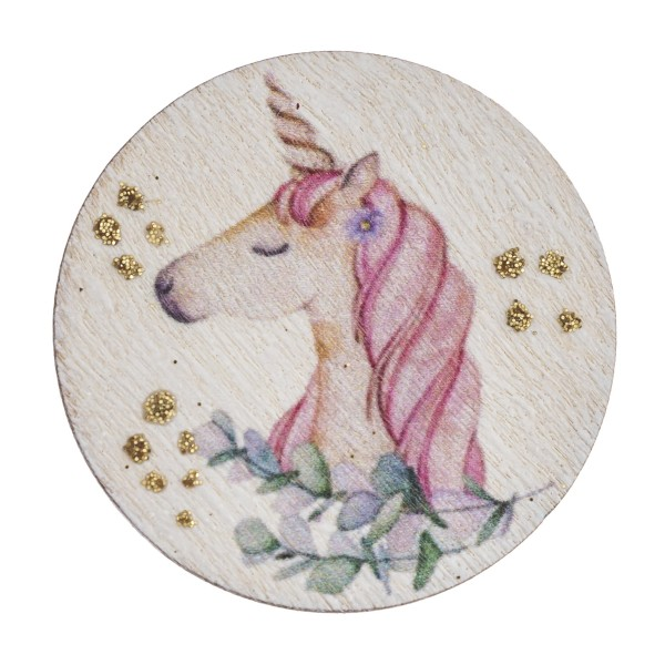 """Accessorize your phone grip with this wooden unicorn decorative peel and stick charm featuring glitter accents. Approximately 1.5"""" in diameter. Fashion charms can also be used for the following:  - Laptops - Refrigerator Magnets - On DIY Home Projects - Car Dashboard - And anywhere you can Imagine"""