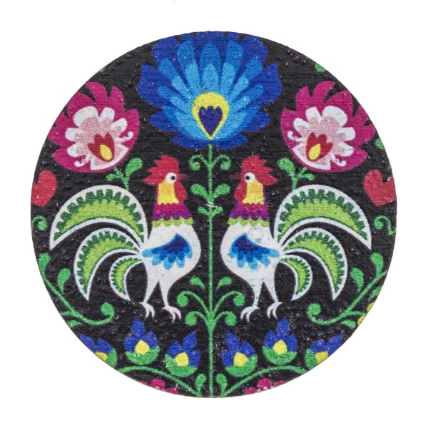 """Accessorize your phone grip with this floral wood rooster decorative peel and stick charm. Approximately 1.5"""" in diameter. Fashion charms can also be used for the following:  - Laptops - Refrigerator Magnets - On DIY Home Projects - Car Dashboard - And anywhere you can Imagine"""