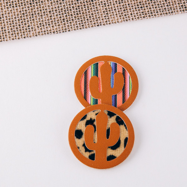 """Accessorize your phone grip with this faux leather leopard print cactus decorative peel and stick charm. Approximately 1.5"""" in diameter. Fashion charms can also be used for the following:  - Laptops - Refrigerator Magnets - On DIY Home Projects - Car Dashboard - And anywhere you can Imagine"""