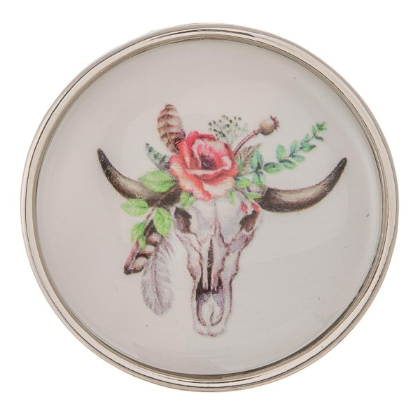 """Self adhesive silver floral cow steer dome cell phone grip and stand.  - Approximately 1.5"""" in diameter"""
