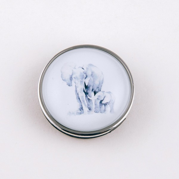 """Self adhesive silver elephant dome cell phone grip and stand.  - Approximately 1.5"""" in diameter"""
