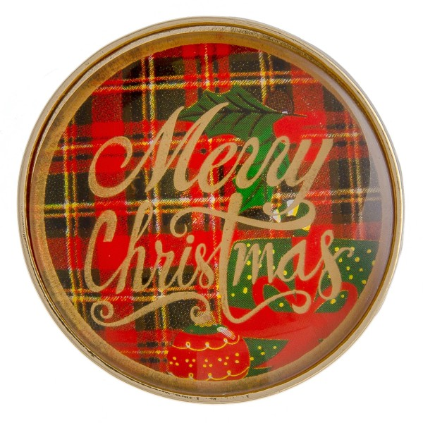 """Self adhesive gold Merry Christmas red plaid dome cell phone grip and stand.  - Approximately 1.5"""" in diameter"""