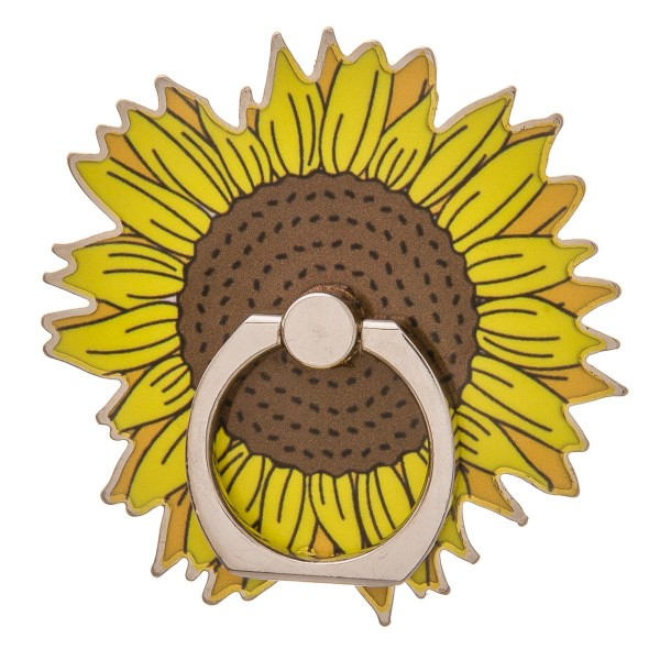 """Enamel coated sunflower self adhesive cell phone peel and stick charm finger grip.  - Safe and secure grip ring with kickstand - Rotates 360 and swivels 180 - Universal smartphone mount - Approximately 2.5"""" in diameter"""