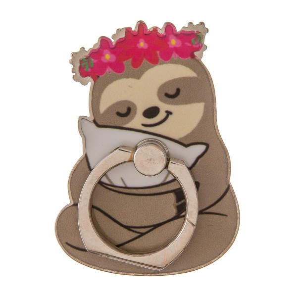 """Enamel coated cozy sloth self adhesive cell phone peel and stick charm finger grip.  - Safe and secure grip ring with kickstand - Rotates 360 and swivels 180 - Universal smartphone mount - Approximately 2.5"""" in size"""