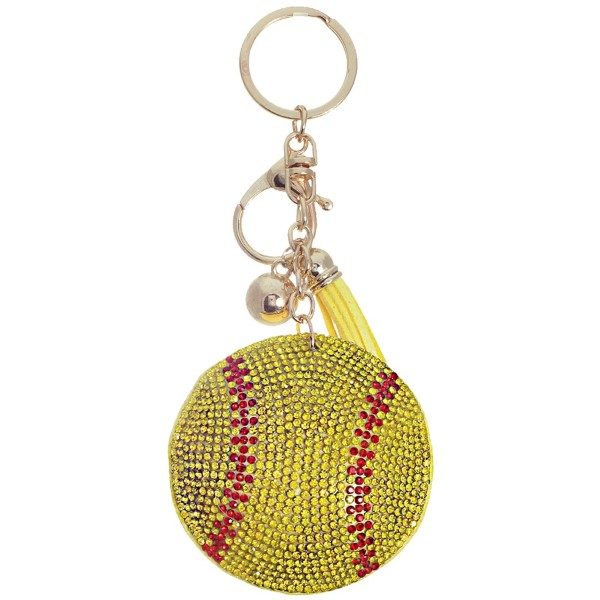 "Keychain with faux suede tassel and rhinestone softball. Approximately 2.5"" in diameter."