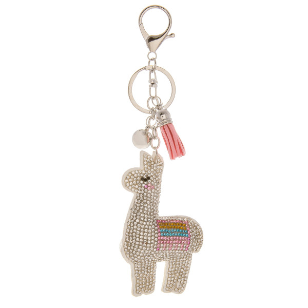 "Cute Llama Keychain/bag chain with rhinestones. Approximate 3"" in length."