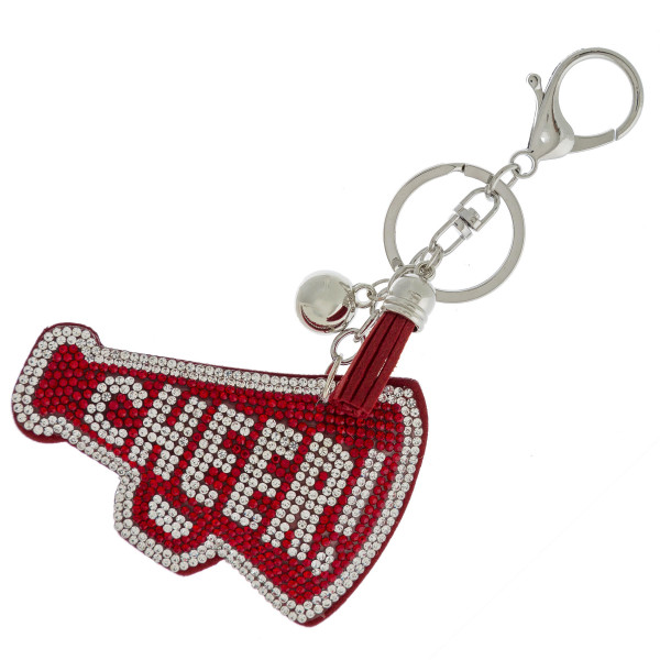 """Cheer keychain with faux suede tassel and rhinestone softball. Approximately 2.5"""" in diameter."""