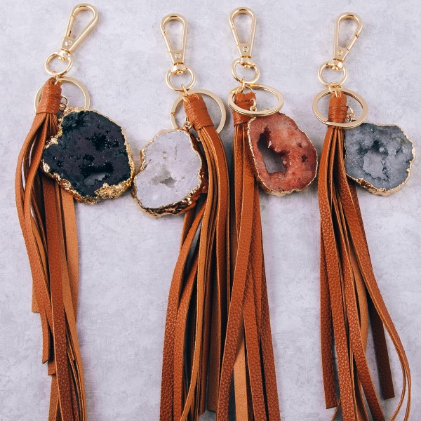 """Large druzy faux leather tassel keychain holder.  - Approximately 12.5"""" in length - Druzy varies in size - Approximately 2"""" in size"""