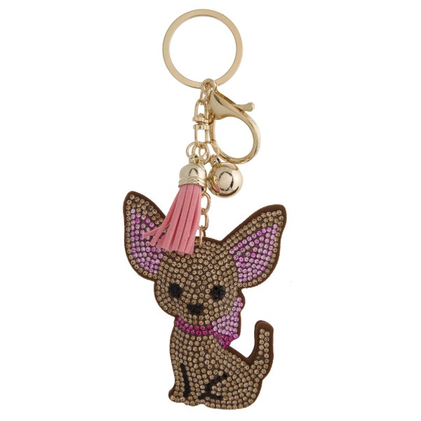 "Rhinestone studded chihuahua plush keychain. Approximately 5.5"" in length."