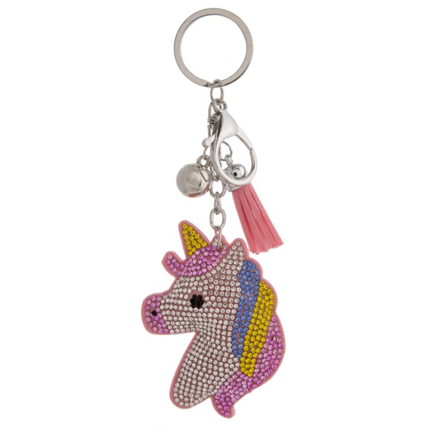 "Rhinestone studded unicorn plush keychain. Approximately 6"" in length."