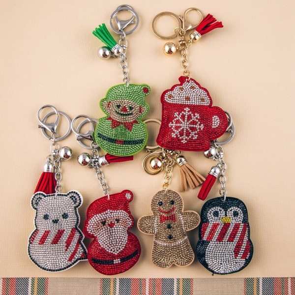 "Rhinestone studded Christmas character plush keychain. Approximately 6"" in length."
