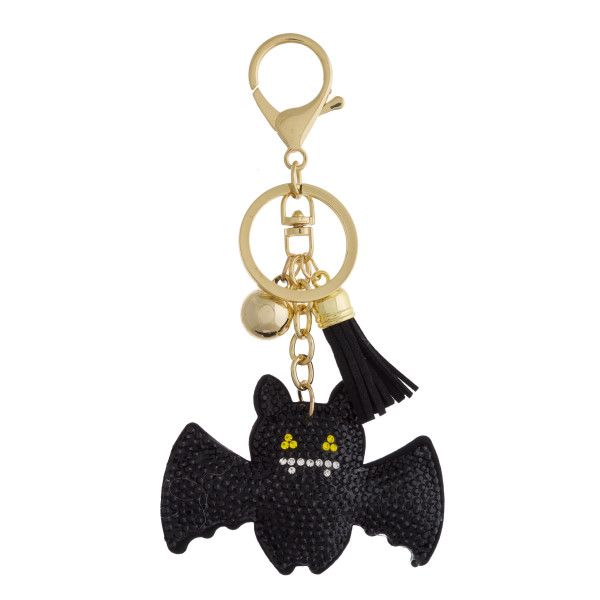 "Rhinestone studded Halloween plush keychain. Approximately 5"" in length."