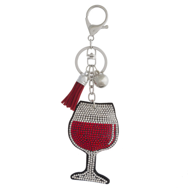 "Rhinestone studded wine plush keychain. Approximately 6"" in length."