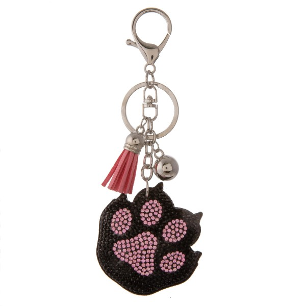 "Black and pink rhinestone plush paw print keychain holder with tassel detail.  - Approximately 5.5"" in length overall - Paw print 2"""