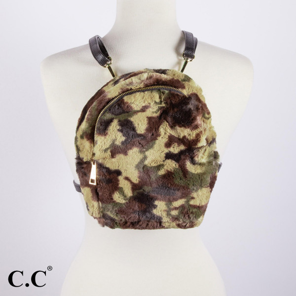"""BG-805: Faux fur C.C camouflage backpack. Approximately 10"""" x 7"""""""