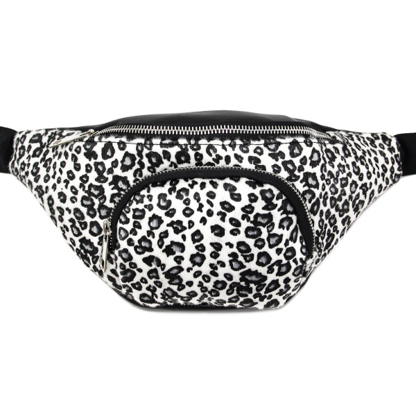 Animal print fanny pack with two zipper pouches.