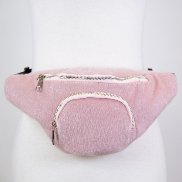 Faux fur two pouch fanny pack. 100% polyester.