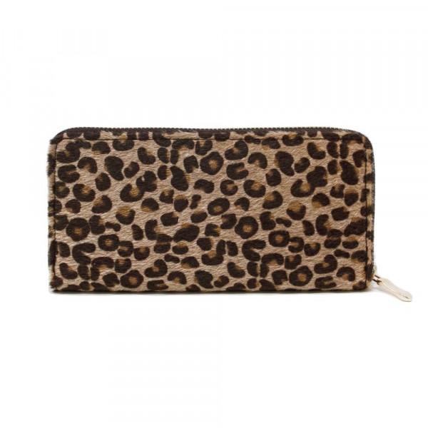 "Leopard print wallet with zipper closure. W: 7.5"" x L: 4.5"""