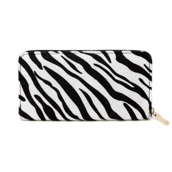 "Zebra print wallet with zipper closure. W: 7.5"" x L: 4.5"""