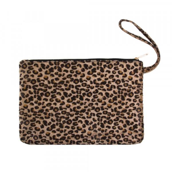 """Oversized leopard print wristlet. Approximately 12"""" x 8"""""""