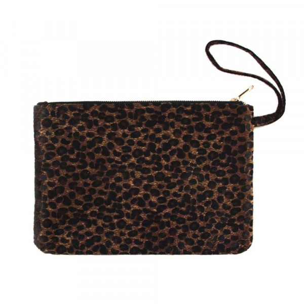 "Oversized leopard print wristlet. Approximately 12"" x 8"""