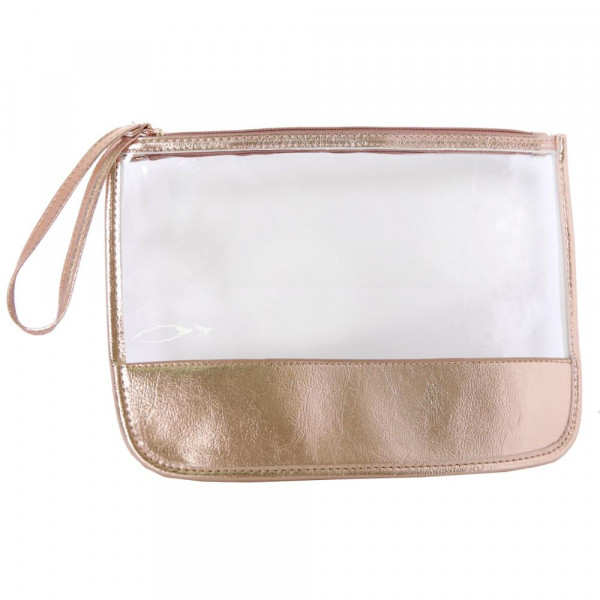 """Clear wristlet with faux leather detail. Approximately W: 9"""" x L: 12"""""""