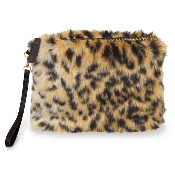 "Faux fur zip pouch with wristlet strap. 100% acrylic. 8"" x 7"""