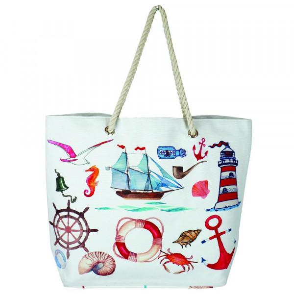 Sea life beach hand bag. 20 1?4� x 15 1?2� x 5� 60% cotton 40% polyester.