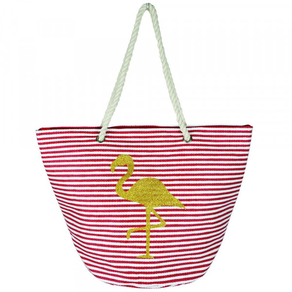"""Stripe glitter flamingo beach bag with rope handles.  - Approximately 21"""" x 15"""" x 14 1/4""""  - 95% Straw, 5% Cotton"""
