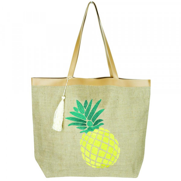 "Pineapple embroidered canvas tote bag with tassel accent.  - Approximately 20 1/4"" x 15 1/2"" x 5""  - 95% Jute, 5% Polyester"