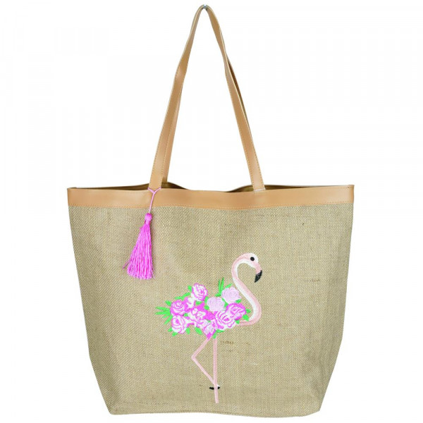 """Embroidered flamingo and rose bag.  20 1/4""""X15 1/2""""X5"""" 95% JUTE, 5% POLYESTER"""