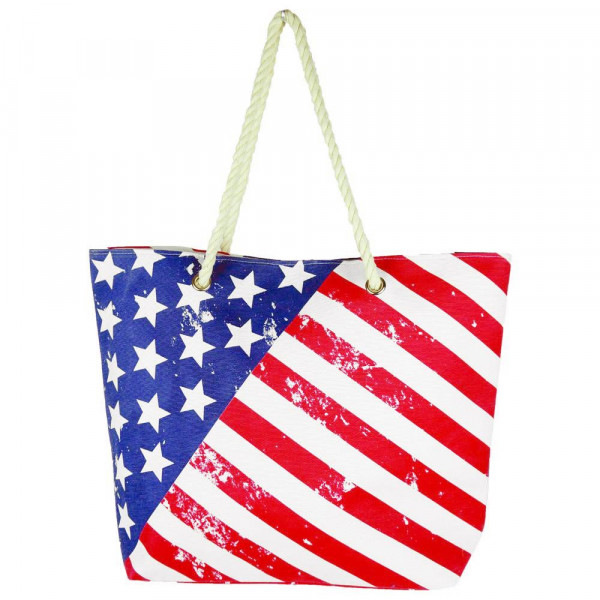 "American flag beach bag. 20.25"" x 15.5"" x 5"""