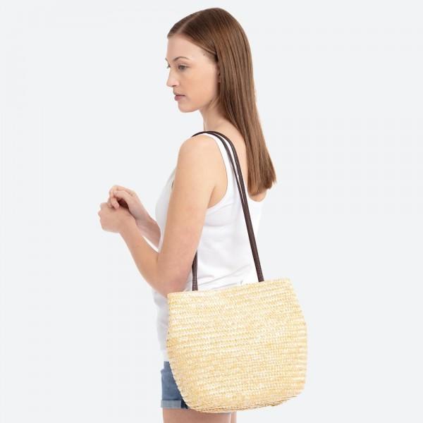 Natural over the shoulder straw bag.  100% straw