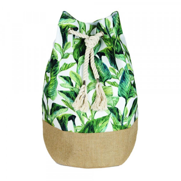"""Beach bag featuring tropical leaves print. Measures approximately 18.25"""" x 18.25"""" x 11"""" in size."""