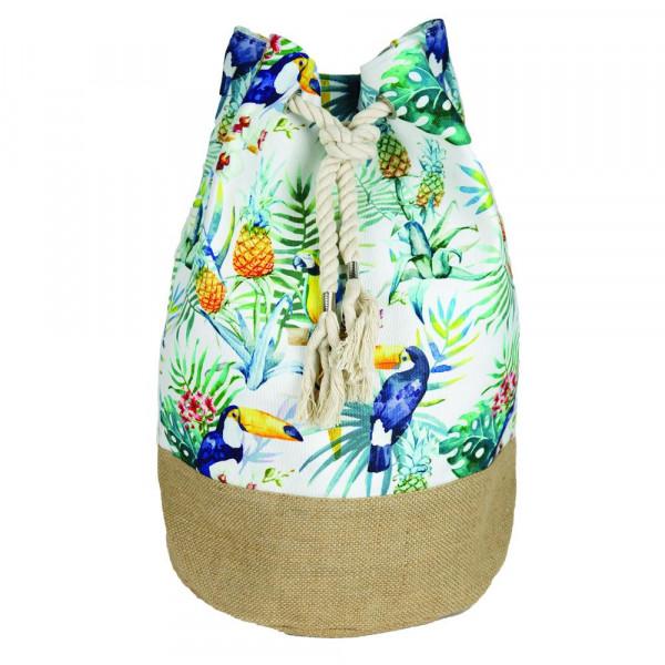 """Tropical flamingo beach bag.18 1?4"""" x 18 1?4"""" x 11"""""""