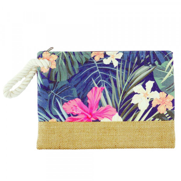 "Tropical flower beach pouch. 10"" x 7"""