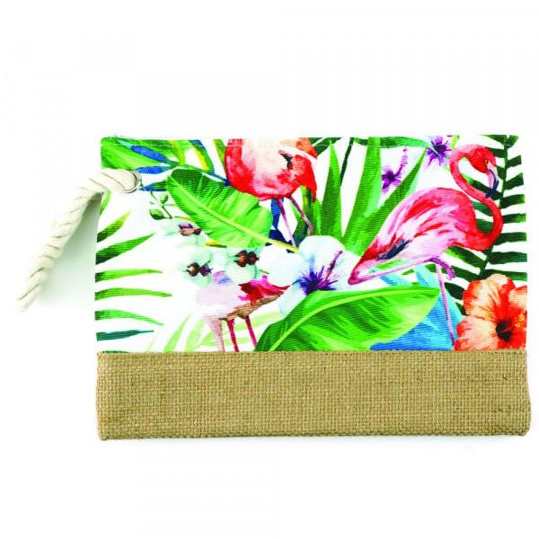 "Flamingo beach pouch. 10"" x 7"""